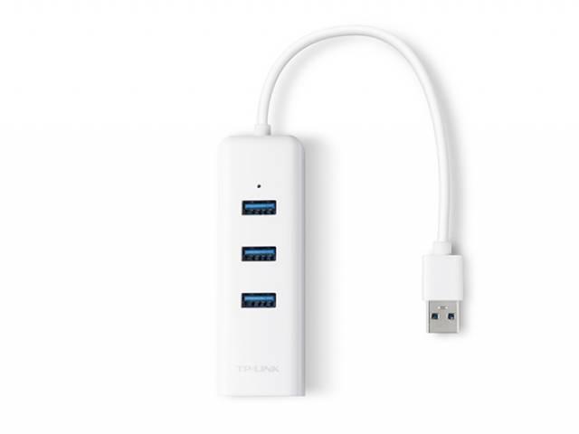 Adaptador de Red USB 3.0 a Ethernet Gigabit Y 3-Port Hub USB TP-LINK UE330